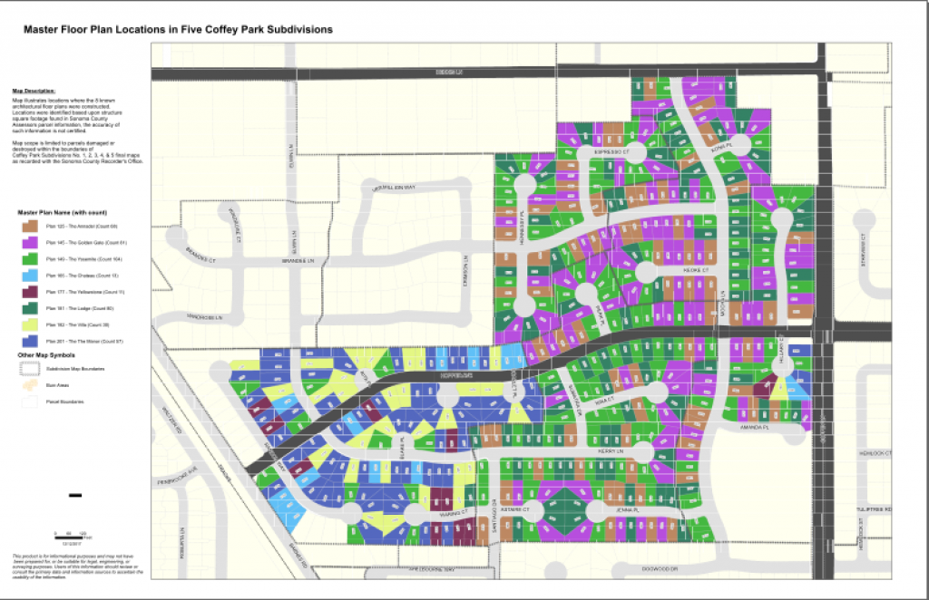 Master Floor Plan Locations in Five Coffey Park Subdivisions