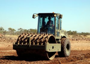 Sheepsfoot roller for soil compaction on heavy clay soil