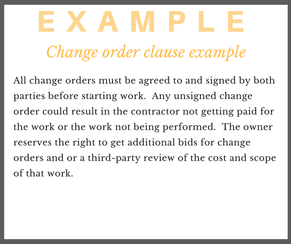 Change Order Example