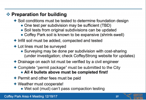 "In the presentation that was shown at the 12/19/17 Area 4 meeting (http://bit.ly/CSAREA-4), page 27 (pictured here) includes the statement ""Drainage on each lot must be verified by a civil engineer"""