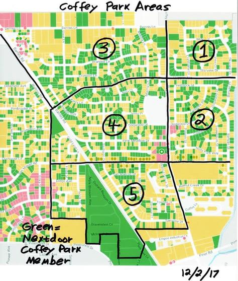 map of Coffey Park with areas outlined