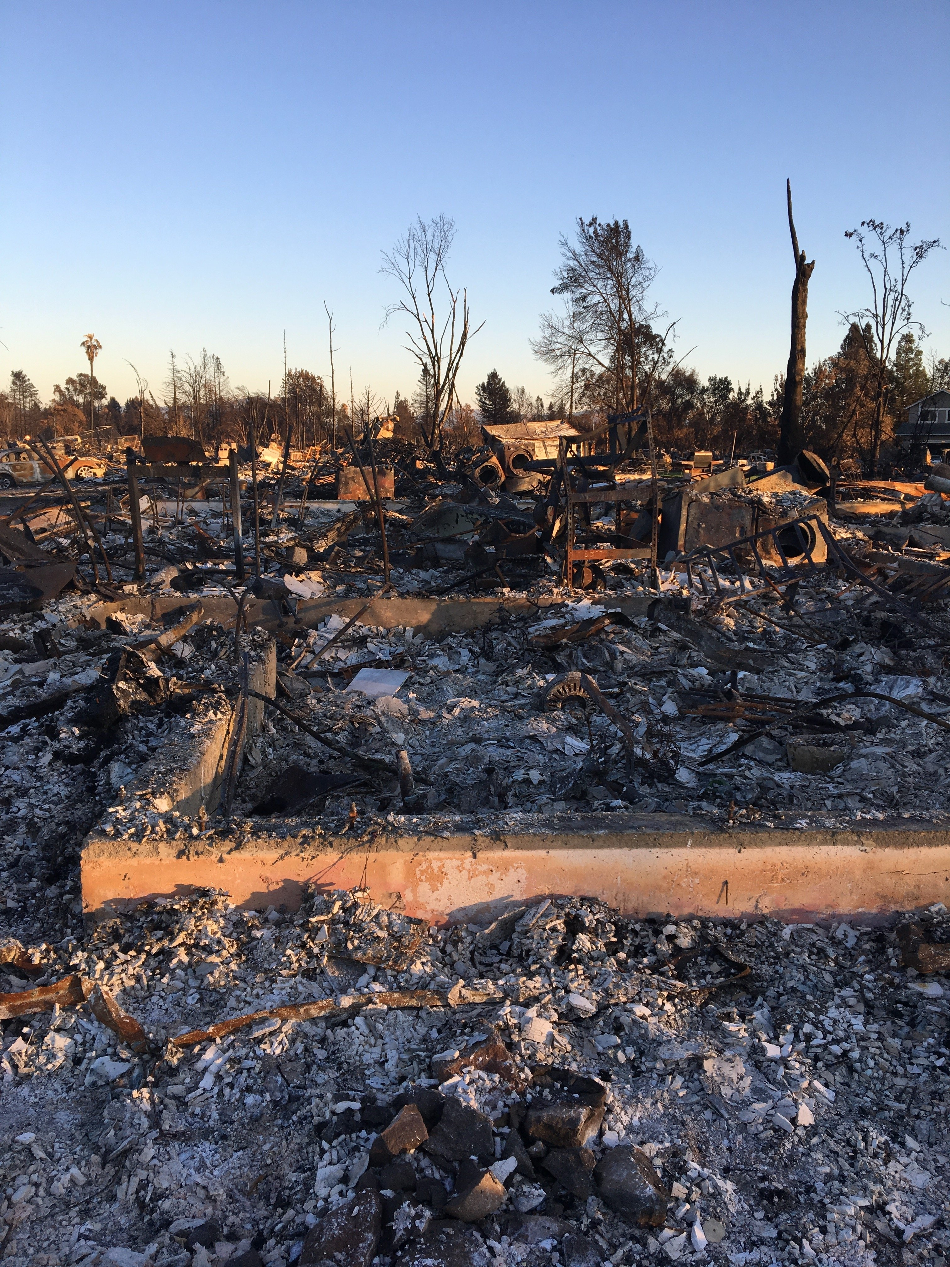 view of coffey park destroyed home after the tubbs fire